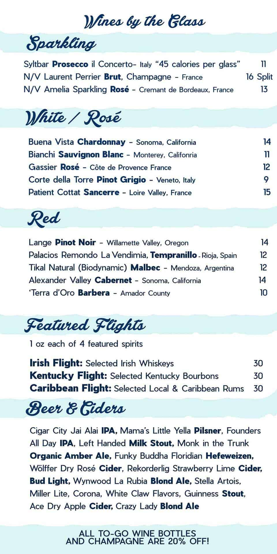 The Roos Key West Menu